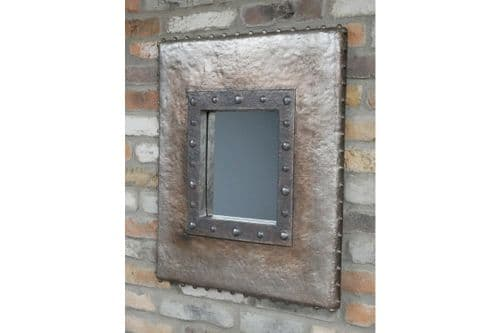 Industrial Distressed Grey Hammered Bolts Wall Hanging Mirror (DX7011) 70cm